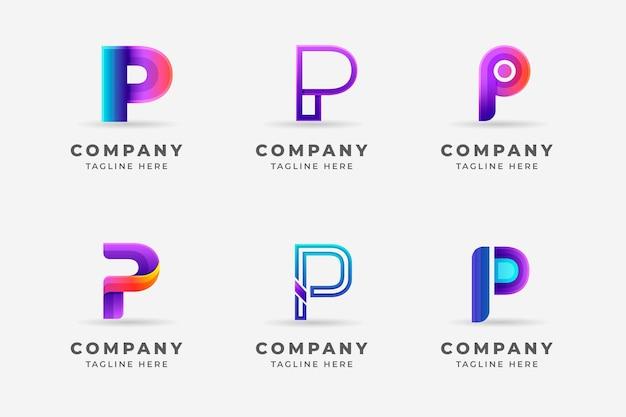 Kolekcja logo p w kolorze gradientu