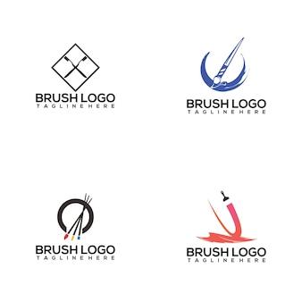 Kolekcja logo pędzla