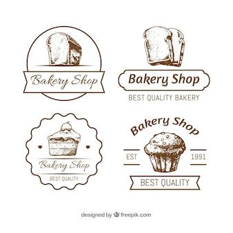 Kolekcja logo piekarnia w rękę wyciągnąć styl