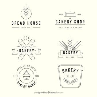 Kolekcja logo piekarnia w stylu vintage
