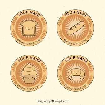 Kolekcja logo piekarnia w stylu wyciągnąć rękę