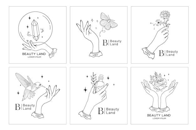 Kolekcja logo piękna boho z ręką, kwiatami, kryształem, ptakiem, motylem