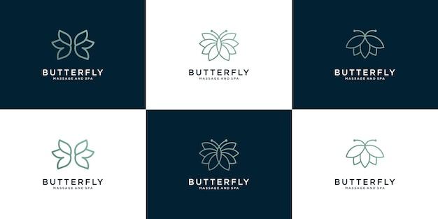 Kolekcja logo piękna motyla w stylu grafiki liniowej