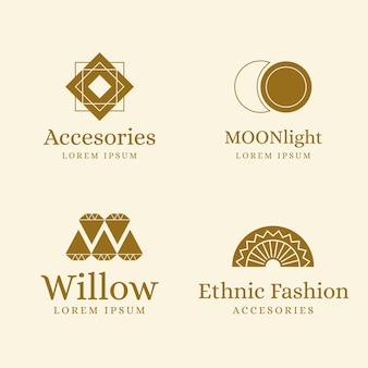 Kolekcja logo płaskie akcesoria mody