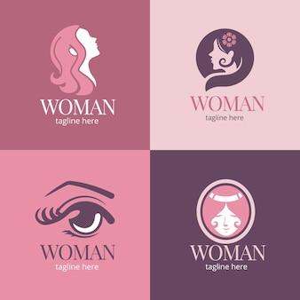 Kolekcja logo płaskiej kobiety