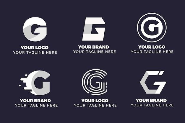 Kolekcja logo płaskiej litery g
