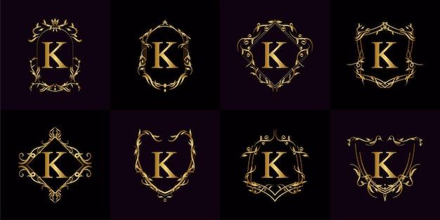Kolekcja logo początkowego k z luksusowym ornamentem lub ramą kwiatową