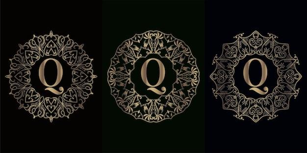 Kolekcja logo początkowego q z luksusową ramą ozdobną mandali