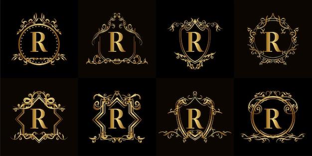 Kolekcja logo początkowego r z luksusowym ornamentem lub ramą kwiatową