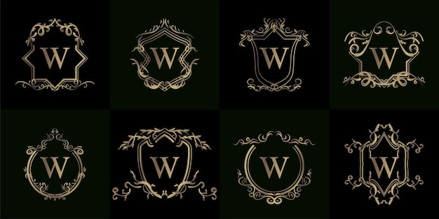 Kolekcja logo początkowego w z luksusowym ornamentem lub ramą kwiatową