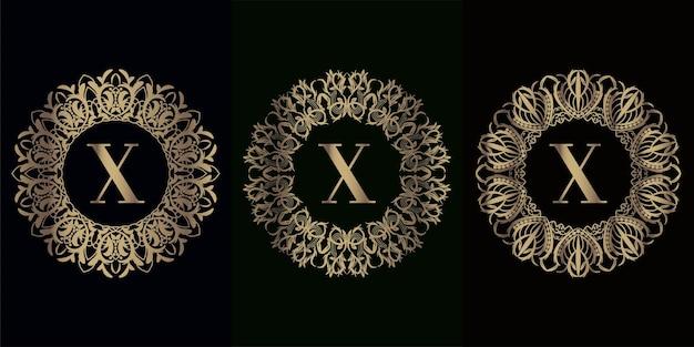 Kolekcja logo początkowego x z luksusową ramą ornament mandali