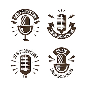 Kolekcja logo podcastu w stylu vintage