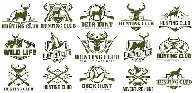 Kolekcja logo polowania, wektor zestaw etykiet polowanie, odznaka lub godło, logo polowanie na kaczki i jelenie