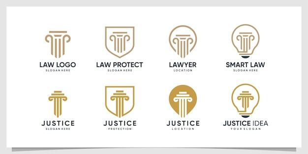 Kolekcja logo prawnika z różnymi elementami