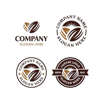 Kolekcja logo premium z ziaren kawy