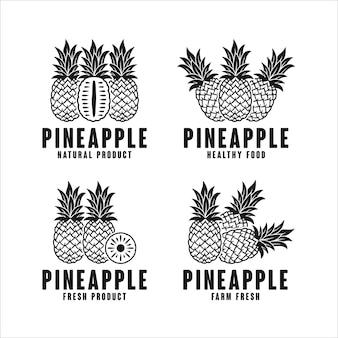 Kolekcja logo produktu naturalnego ananasa