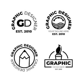 Kolekcja logo projektanta graficznego o płaskiej konstrukcji