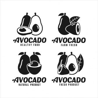 Kolekcja logo projektu naturalnego produktu awokado