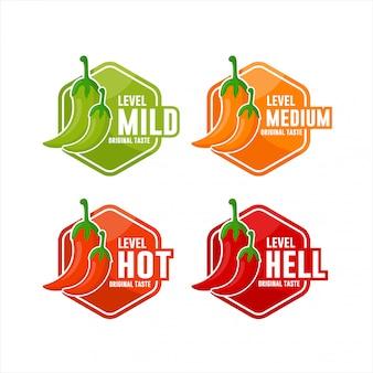 Kolekcja logo projektu poziomu papryki chili