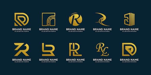 Kolekcja logo r z kreatywnym stylem elementów premium wektor