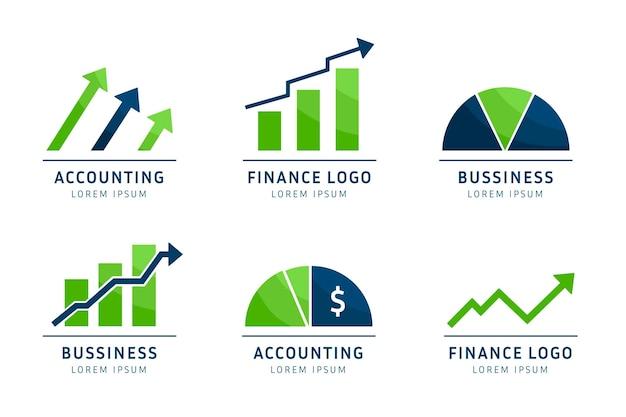Kolekcja logo rachunkowości płaskiej