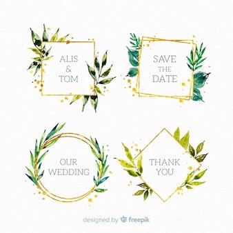 Kolekcja logo ramki ślubne akwarela