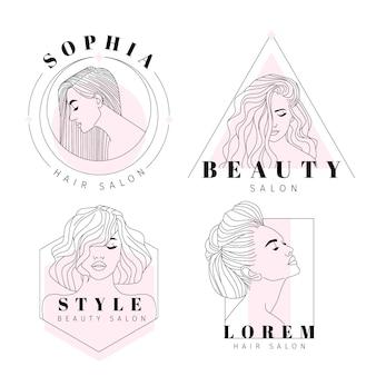 Kolekcja logo ręcznie rysowane salon fryzjerski
