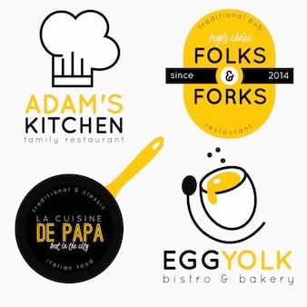 Kolekcja logo restauracji lub bistro