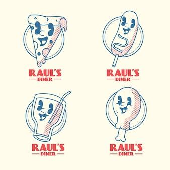 Kolekcja Logo Restauracji Retro Kreskówka Darmowych Wektorów