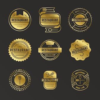 Kolekcja logo retro złota restauracja