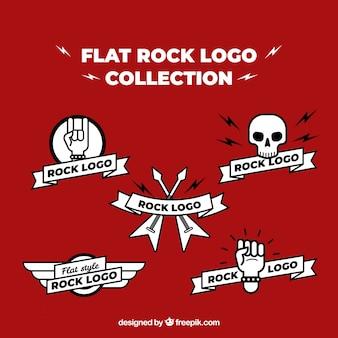 Kolekcja logo rock w stylu płaski