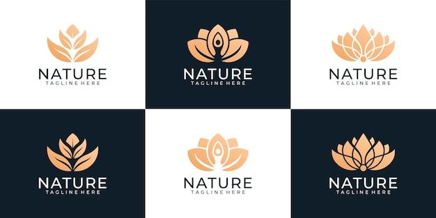Kolekcja logo roślin kwiatowych z gradientem piękna złota natura