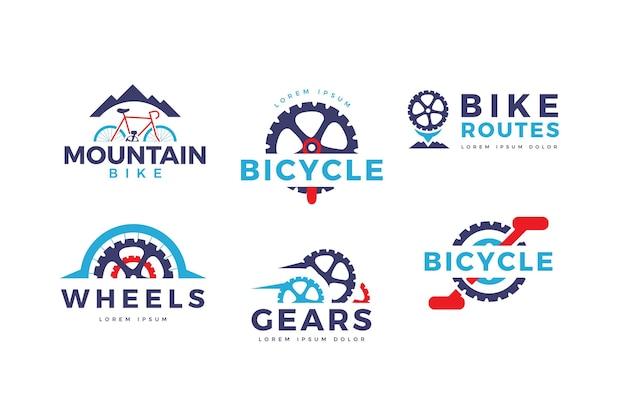 Kolekcja logo roweru o płaskiej konstrukcji