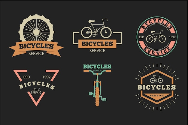 Kolekcja logo roweru płaskiego
