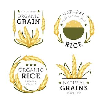 Kolekcja logo ryżu naturalnego