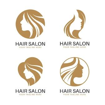 Kolekcja logo salon fryzjerski