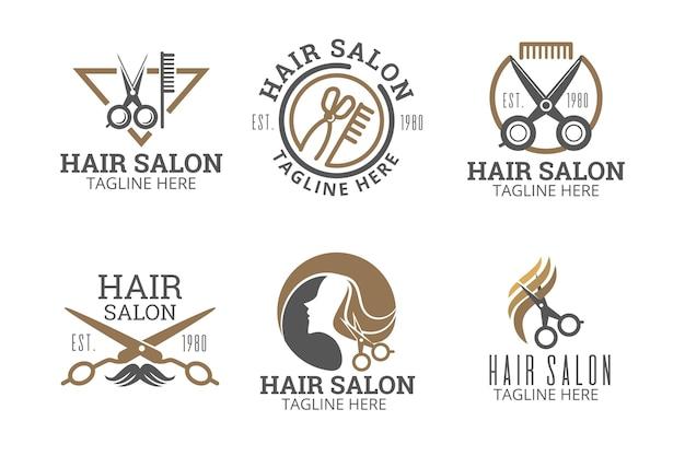 Kolekcja logo salonu fryzjerskiego z płaskiej dłoni