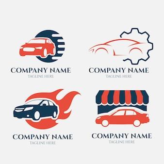 Kolekcja logo samochodu w stylu płaskiej