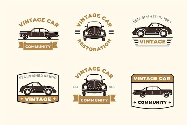 Kolekcja logo samochodu w stylu vintage
