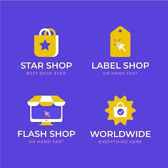 Kolekcja logo sklepu internetowego o płaskiej konstrukcji