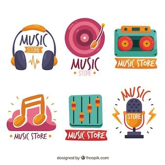 Kolekcja logo sklepu muzycznego o płaskiej konstrukcji