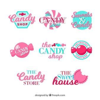 Kolekcja logo sklepu ze słodyczami dla firm