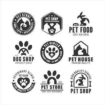 Kolekcja logo sklepu zoologicznego