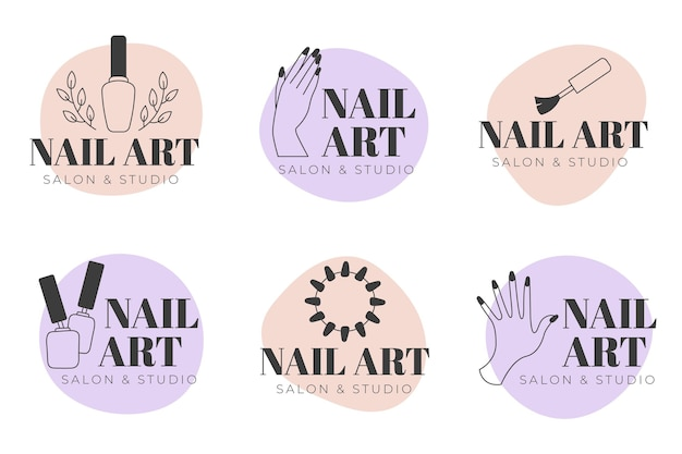 Kolekcja logo studia paznokci