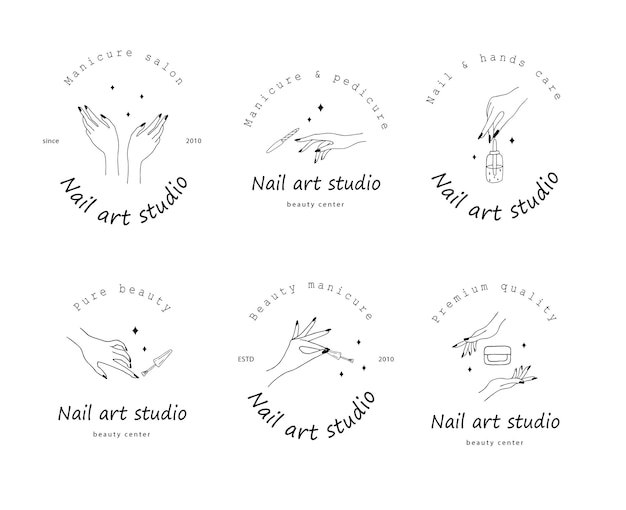 Kolekcja logo studio sztuki paznokci na białym tle