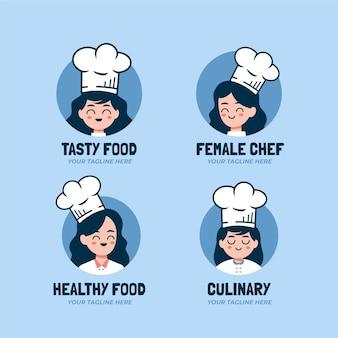 Kolekcja logo szefa kuchni płaskiej kobiety