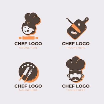Kolekcja logo szefa kuchni płaskiej