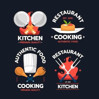 Kolekcja logo szefa kuchni w płaskiej konstrukcji