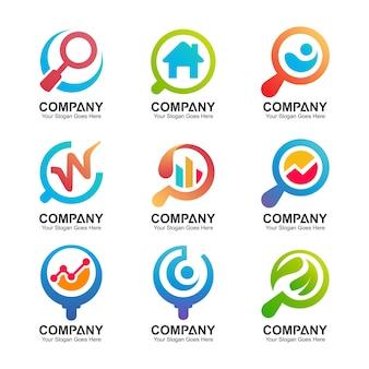 Kolekcja logo szkła powiększającego