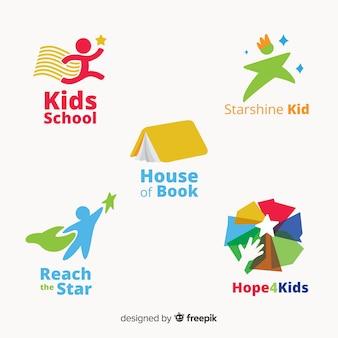 Kolekcja logo szkoły projektowania płaskiego